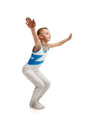 Young gymnast stretching