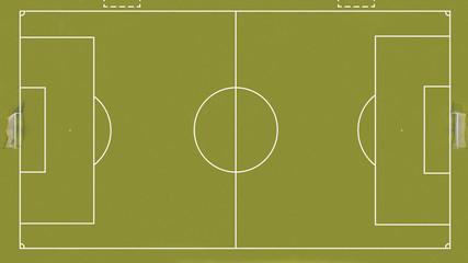 vista aerea ortogonale di un campo di calcetto o calcio a 5. Oltre le linee di gioco e le porte, sono segnalati anche gli spazi per le panchine.