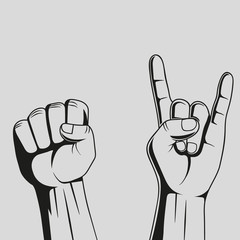 Hands. Rock sign. Vector.