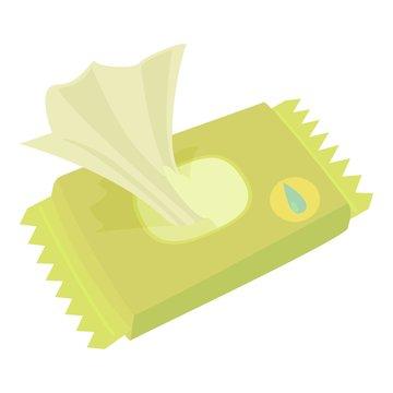 Wet wipe pack icon, cartoon style