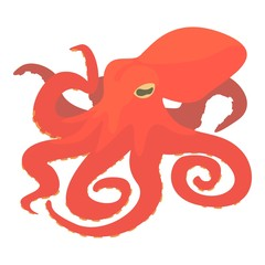 Octopus icon, cartoon style