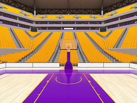 Large modern basketball arena with yellow seats