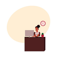 Black, African American businesswoman, secretary, working on computer at office table, cartoon vector illustration with space for text. Black businesswoman, office manager working on computer