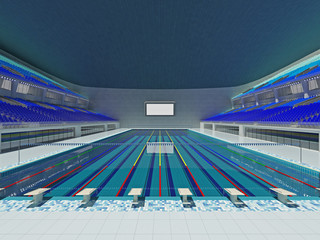 Indoor Olympic swimming pool arena with blue seats