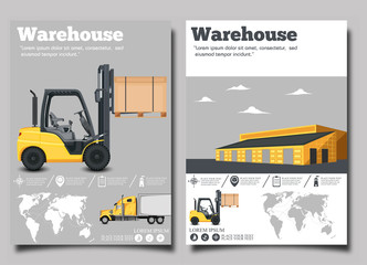 Warehouse flyer set with forklift truck