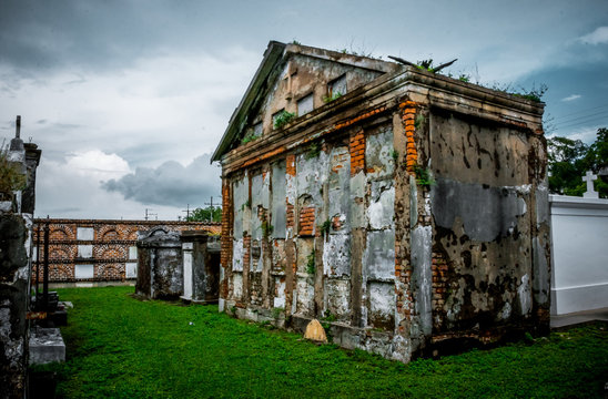 Ancient family crypt in St. Louis cemetery, New Orleans