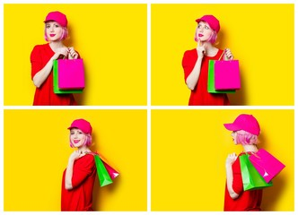 Collage with four young women with shopping bags on the wonderful yellow studio background