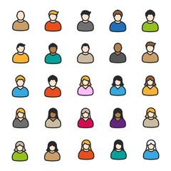 User Avatar Man Woman Male Female Color Flat Line Outline Stroke Icon Pictogram Symbol Set