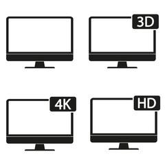 Monitor icon set. Vector.