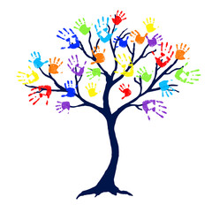 Abstract tree with bright and colorful family hand prints as leaves on white background. Vector illustration.