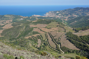 Coastal landscape viewpoint from the heights of the Cote Vermeille near the town of Banyuls sur Mer, south of France, Mediterranean sea, Roussillon, Pyrenees Orientales