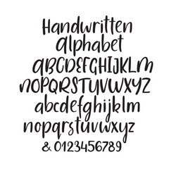 Modern calligraphy alphabet. Handwritten brush letters. Uppercase, lowercase, numbers. Hand lettering font for your design: wedding calligraphy, logo, slogan, window decor, postcard, greeting card