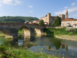 Monastero Bormida Medieval village with castle, church and romanesque bridge