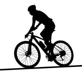Side profile silhouette of male mountain bike racer