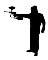 Side profile silhouette of paintball player with raised gun