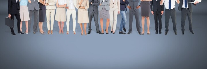 Group of Business People standing with blue vignette background