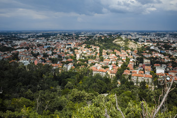 Amazing Panoramic view of city of Plovdiv from Bunardzhik tepe hill (hill of libertadors), Bulgaria