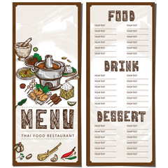 menu thai food restaurant template design hand drawing graphic.