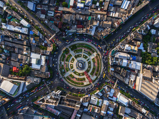 Road roundabout with car lots in Bangkok,Thailand.street roundabout large beautiful Downtown at...
