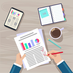 Hands on the table. A businessman writes a project plan on a sheet, followed by gadgets, a pencil and coffee. Vector picture.