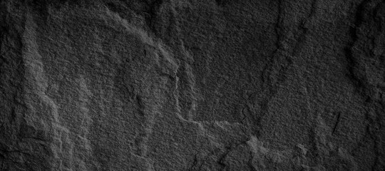 Wall Mural - Panorama black slate background or texture.