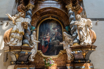 Interior of the Church of Our Lady of the Snows in Prague, Czech Republic