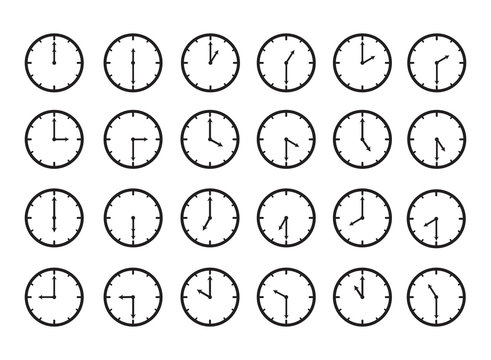 Clock time icon set