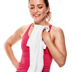 Fitness woman with towel