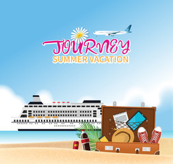 Summer holiday vacation concept, Cruise journey vector illustration