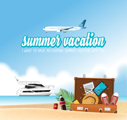 Summer holiday vacation concept, Boat and airplane vector illustration