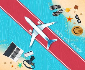 Summer holiday vacation concept, Airplane wooden floor flat vector illustration