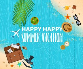 Summer holiday vacation concept, Wooden floor flat vector illustration