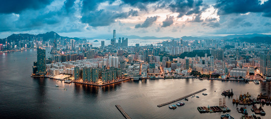 Aerial view of Hong Kong Island and Kowloon on sky