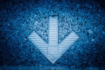 Full frame shot of white arrow symbol on road.