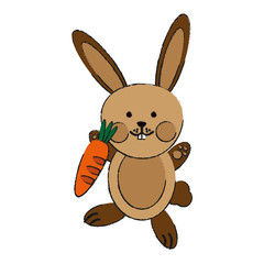 cute rabbit or bunny holding carrot icon image