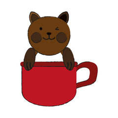 cat inside cup cartoon pet animal icon image