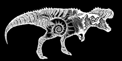 T-Rex dinosaur monster t-shirt design.Symbol of archeology, paleontology. Tyrannosaur, fern, ammonite, dragonfly, ancient minerals. Tyrannosaur double exposure tattoo art