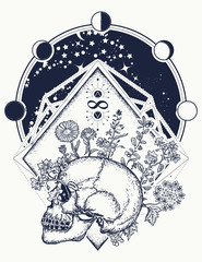 Human skull through which flowers, tattoo art. Psychology, philosophy, poetry t-shirt design Symbol of life and death, sign of infinity and immortality. Art concept of human soul
