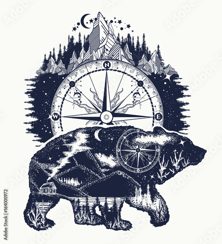 eeae4e3d498b5 Bear double exposure, compass, mountains tattoo art. Bear grizzly  silhouette t-shirt design. Tourism symbol, adventure, great outdoor