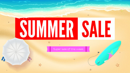 Summer sand of beach on the seashore. Selling ad banner. Summer vacation discounts. Umbrella, beach Mat and slippers, surfboard near the waves of sea. Summer sale horizontal background.