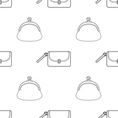 Black and white seamless illustration, pattern of fashion bags for coloring book, page.