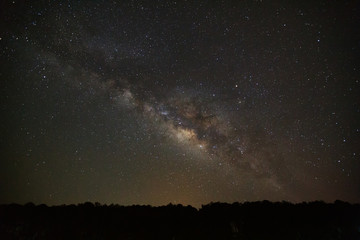 milky way galaxy and silhouette of tree with cloud. Long exposure photograph.with grain