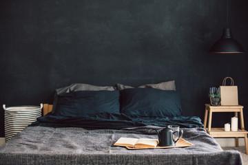 Fototapeta Black bedroom in loft style obraz