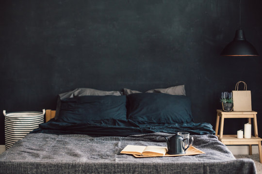 Black bedroom in loft style