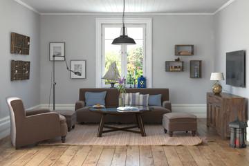 Skandinavisches, nordisches Wohnzimmer mit einem Sofa, Sessel, Hocker, Tisch, Lampen, Möbeln und Fernseher