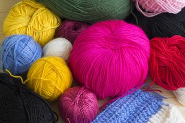 Hanks of thread for knitting. Creative hobby.