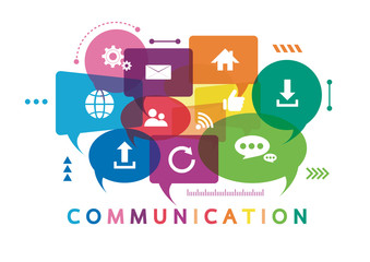 Vector illustration of a communication concept. The word communication with colorful dialog speech bubbles Fototapete
