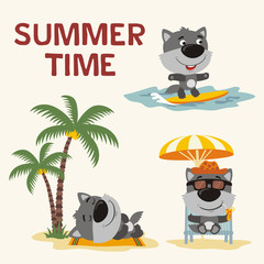 Summer time. Set happy little wolf resting on beach. Collection cartoon wolf surfing, laying under palm tree, resting in sun lounger with cocktail.