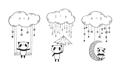 Set of cute pandas with umbrella and  funny clouds. Hand drawn illustration for your design. Doodles, sketch. Black and white. Vector illustration.