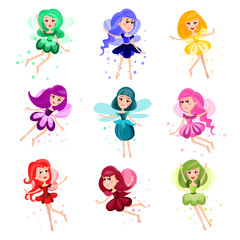 Cute cartoon flying girly fairies of different colors set of vector Illustrations